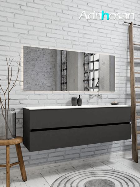 Mueble de baño 150 cm Antracita con 2 cajones, lavabo de Solid surface seno derecho con 0 orificio(s) para el grifo.