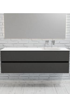 Mueble de baño suspendido Vica 150 Antracita 2 cajones. Un mueble de baño de apertura suave por uñero con encimera seno derecho para grifo empotrado.
