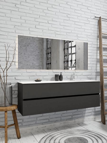 Mueble de baño 150 cm Antracita con 2 cajones, lavabo de Solid surface seno derecho con 1 orificio(s) para el grifo.