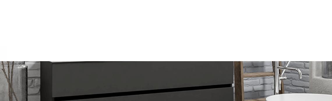 Mueble de baño suspendido Vica 150 Antracita 2 cajones en acabado Antracita. Un mueble de baño de seno derecho de apertura suave por uñero con encimera para grifo sobre encimera.