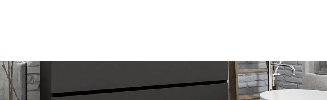 Mueble de baño suspendido Vica 150 Antracita 2 cajones en acabado Antracita. Un mueble de baño de seno doble de apertura suave por uñero con encimera para grifo empotrado.