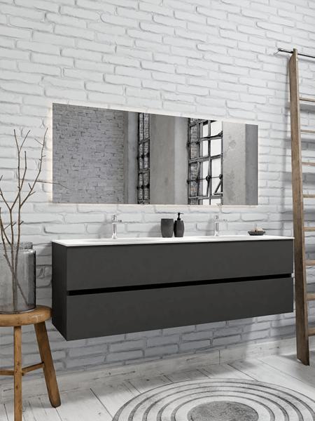 Mueble de baño 150 cm Antracita con 2 cajones, lavabo de Solid surface seno doble con 2 orificio(s) para el grifo.