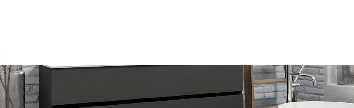 Mueble de baño suspendido Vica 150 Antracita 2 cajones en acabado Antracita. Un mueble de baño de seno doble de apertura suave por uñero con encimera para grifo sobre encimera.