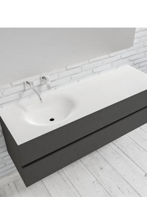 Mueble de baño suspendido Vica 150 Antracita 2 cajones en acabado Antracita. Un mueble de baño de seno izquierdo de apertura suave por uñero con encimera para grifo empotrado.