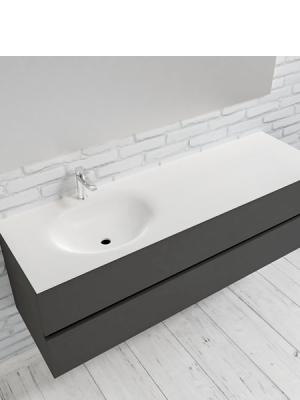 Mueble de baño suspendido Vica 150 Antracita 2 cajones en acabado Antracita. Un mueble de baño de seno izquierdo de apertura suave por uñero con encimera para grifo sobre encimera.