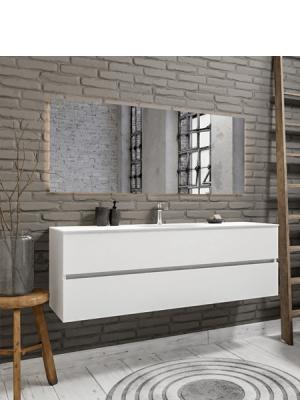Mueble de baño suspendido Vica 150 white 2 cajones en acabado blanco mate. Un mueble de baño de apertura suave por uñero con encimera seno centrado c/orif.
