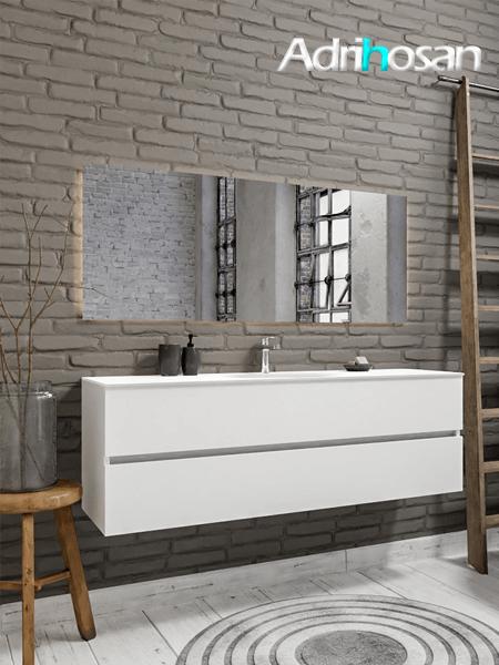Mueble de baño 150 cm Blanco mate con 2 cajones, lavabo de Solid surface seno centrado con 1 orificio(s) para el grifo.