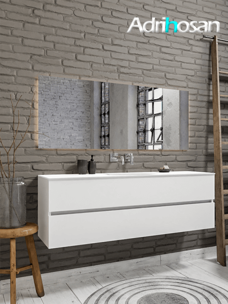 Mueble de baño 150 cm Blanco mate con 2 cajones, lavabo de Solid surface seno centrado con 0 orificio(s) para el grifo.