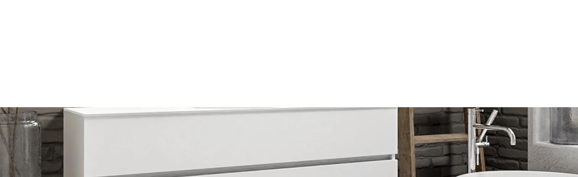 Mueble de baño suspendido Vica 150 white 2 cajones en acabado blanco mate. Un mueble de baño de seno centrado de apertura suave por uñero con encimera para grifo empotrado.