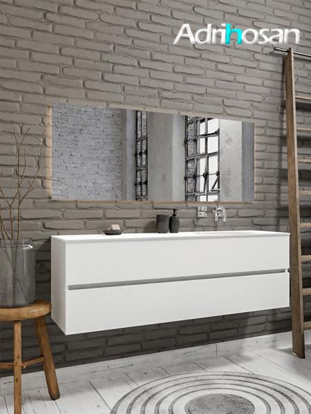 Mueble de baño 150 cm Blanco mate con 2 cajones, lavabo de Solid surface seno derecho con 0 orificio(s) para el grifo.