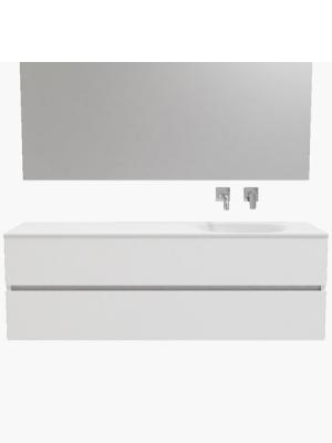 Mueble de baño suspendido Vica 150 white 2 cajones en acabado blanco mate. Un mueble de baño de seno derecho de apertura suave por uñero con encimera para grifo empotrado.