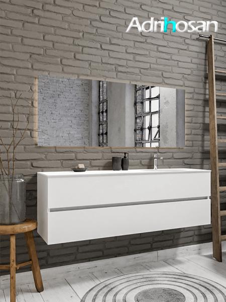 Mueble de baño 150 cm Blanco mate con 2 cajones, lavabo de Solid surface seno derecho con 1 orificio(s) para el grifo.