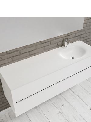 Mueble de baño suspendido Vica 150 white 2 cajones en acabado blanco mate. Un mueble de baño de apertura suave por uñero con encimera seno derecha c/orif.
