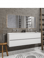 Mueble de baño suspendido Vica 150 white 2 cajones en acabado blanco mate. Un mueble de baño de seno doble de apertura suave por uñero con encimera para grifo empotrado.