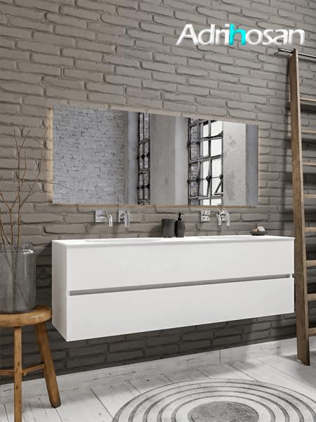 Mueble de baño 150 cm Blanco mate con 2 cajones, lavabo de Solid surface seno doble con 0 orificio(s) para el grifo.