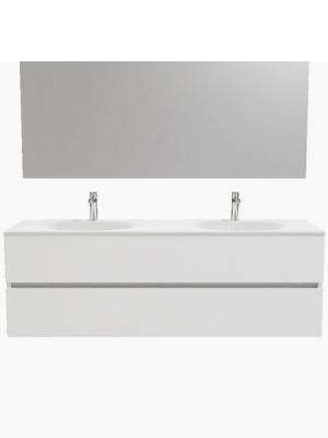 Mueble de baño suspendido Vica 150 white 2 cajones en acabado blanco mate. Un mueble de baño de apertura suave por uñero con encimera seno doble c/orif.