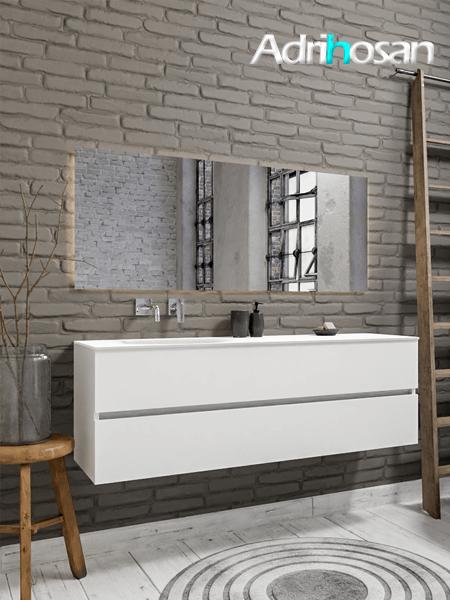 Mueble de baño 150 cm Blanco mate con 2 cajones, lavabo de Solid surface seno izquierdo con 0 orificio(s) para el grifo.