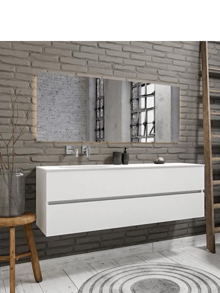 Mueble de baño suspendido Vica 150 Blanco 2 cajones en acabado Blanco . Un mueble de baño de seno izquierdo de apertura suave por uñero con encimera para grifo empotrado.