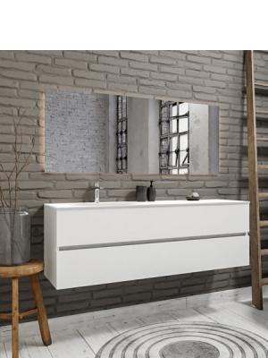 Mueble de baño suspendido Vica 150 white 2 cajones en acabado blanco mate. Un mueble de baño de apertura suave por uñero con encimera seno izquierda c/orif.