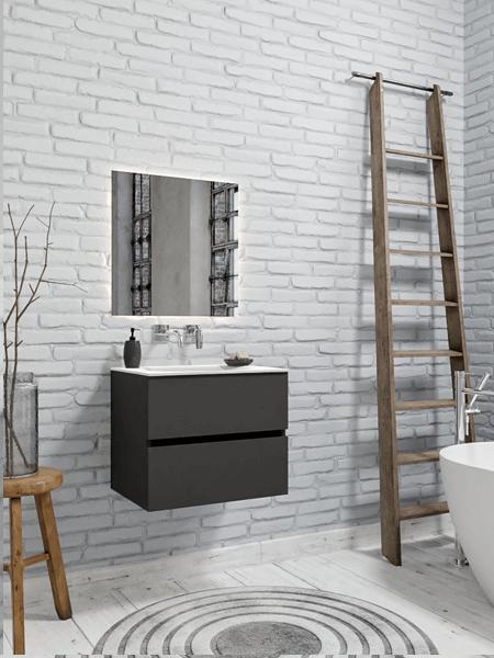 Mueble de baño 60 cm Antracita con 2 cajones, lavabo de Solid surface seno centrado con 0 orificio(s) para el grifo.
