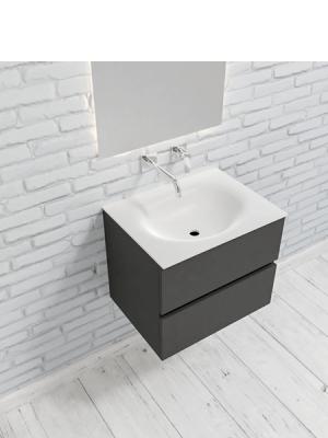 Mueble de baño suspendido Vica 60 antracita 2 cajones en acabado antracita . Un mueble de baño de apertura suave por uñero con encimera para grifo empotrado.