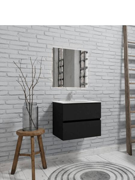 Mueble de baño 60 cm Vica negro mate con 2 cajones, lavabo de Solid surface seno centrado con 1 orificio(s) para el grifo.