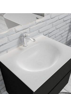 Mueble de baño suspendido Vica 60 negro 2 cajones en acabado negro mate.Mueble de baño de apertura suave por uñero con encimera para grifo sobre encimera.