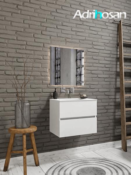 Mueble de baño 60 cm Blanco mate con 2 cajones, lavabo de Solid surface seno centrado con 0 orificio(s) para el grifo