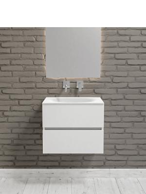 Mueble de baño suspendido Vica 60 white 2 cajones en acabado blanco mate. Un mueble de baño de apertura suave por uñero con encimera para grifo empotrado.
