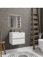 Mueble de baño suspendido Vica 60 white 2 cajones en acabado blanco mate.Mueble de baño de apertura suave por uñero con encimera para grifo sobre encimera.