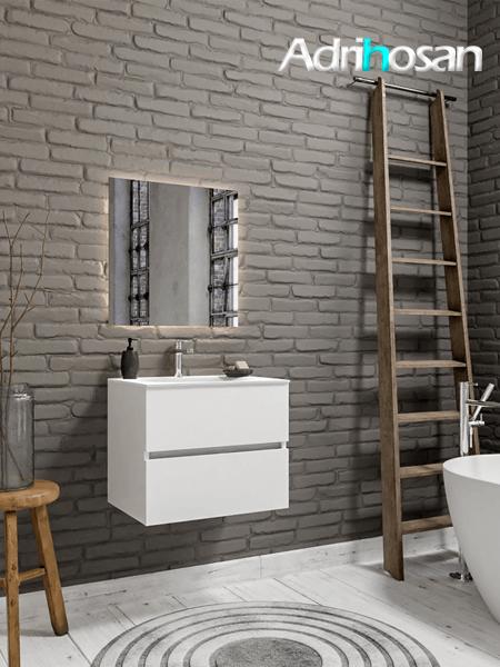 Mueble de baño 60 cm Blanco mate con 2 cajones, lavabo de Solid surface seno centrado con 1 orificio(s) para el grifo.