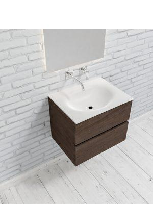 Mueble de baño suspendido Vica 60 2 cajones en acabado Wood nogal mate. Un mueble de baño de apertura suave por uñero con encimera para grifo empotrado.