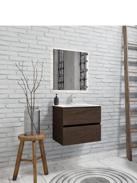 Mueble de baño 60 cm Wood nogal con 2 cajones, lavabo de Solid surface seno centrado con 1 orificio(s) para el grifo.