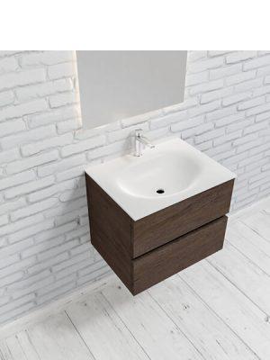 Mueble de baño suspendido Vica 60 Wood nogal 2 cajones en acabado Wood nogal mate. Un mueble de baño de apertura suave por uñero con encimera para grifo sobre encimera.