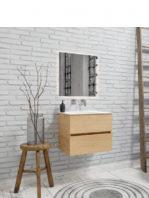 Mueble de baño suspendido Vica 60 Wood nogal 2 cajones en acabado Wood roble natural mate. Un mueble de baño de apertura suave por uñero con encimera para grifo empotrado.