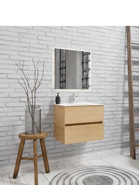Mueble de baño 60 cm Wood roble natural con 2 cajones, lavabo de Solid surface seno centrado con 1 orificio(s) para el grifo.