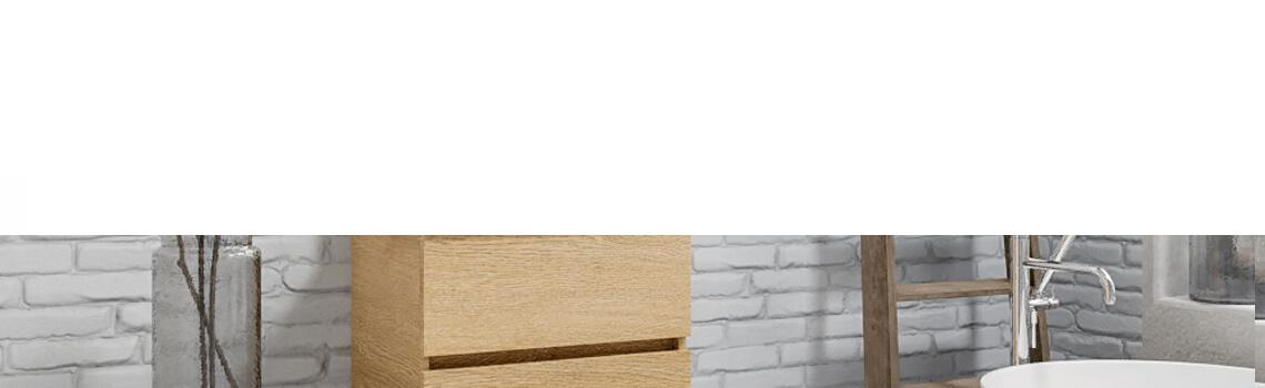 Mueble de baño suspendido Vica 60 2 cajones en acabado Wood roble natural mate.Mueble de baño de apertura suave por uñero encimera para grifo sobre encimera