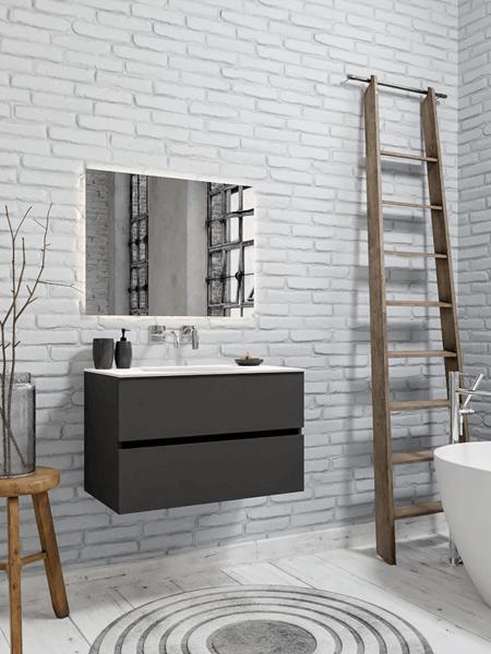 Mueble de baño 80 cm Antracita con 2 cajones, lavabo de Solid surface seno centrado con 0 orificio(s) para el grifo.