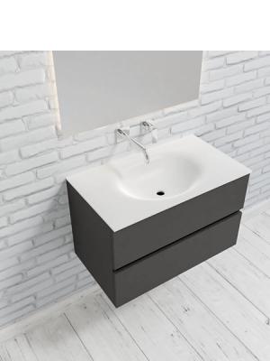 Mueble de baño suspendido Vica 80 antracita 2 cajones en acabado antracita mate. Un mueble de baño de apertura suave por uñero con encimera para grifo empotrado.