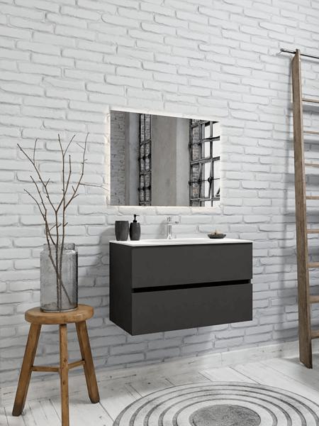 Mueble de baño 80 cm Antracita con 2 cajones, lavabo de Solid surface seno centrado con 1 orificio(s) para el grifo.