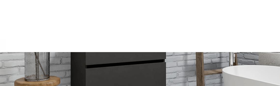 Mueble de baño suspendido Vica 80 antracita 2 cajones en acabado antracita mate.Mueble de baño de apertura suave por uñero con encimera para grifo.