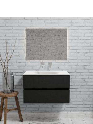 Mueble de baño suspendido Vica 80 negro 2 cajones en acabado negro mate. Un mueble de baño de apertura suave por uñero con encimera para grifo empotrado.