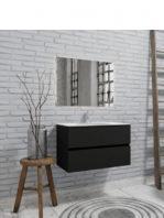 Mueble de baño suspendido Vica 80 negro 2 cajones en acabado negro mate.Mueble de baño de apertura suave por uñero con encimera para grifo sobre encimera.