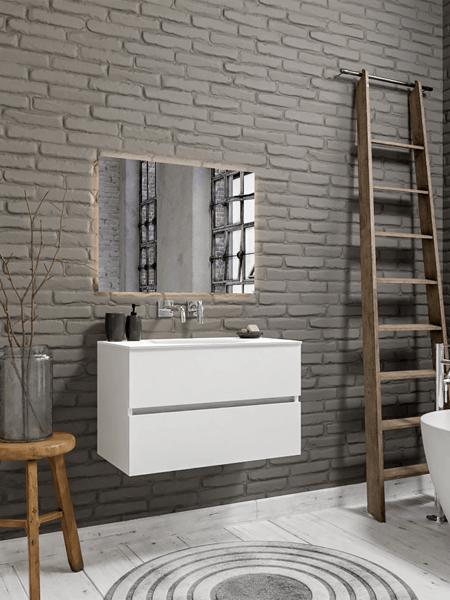 Mueble de baño 80 cm Blanco mate con 2 cajones, lavabo de Solid surface seno centrado con 0 orificio(s) para el grifo.