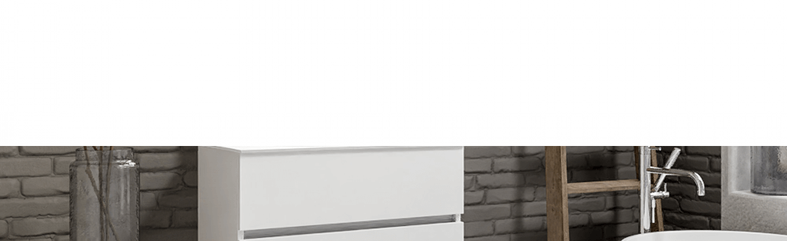 Mueble de baño suspendido Vica 80 white 2 cajones en acabado blanco mate. Un mueble de baño de apertura suave por uñero con encimera para grifo empotrado.