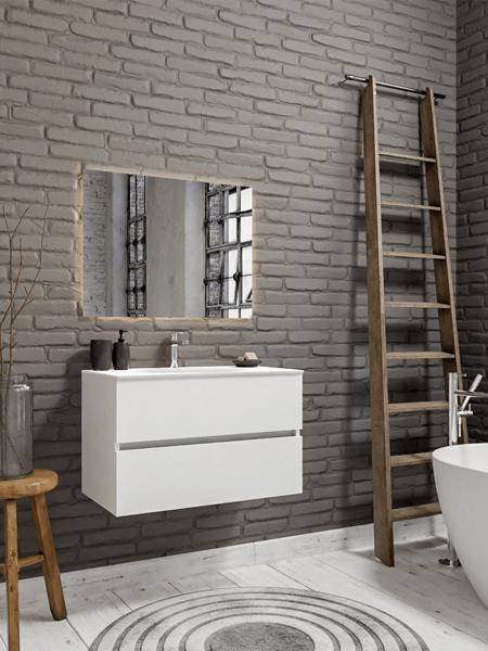 Mueble de baño 80 cm Blanco mate con 2 cajones, lavabo de Solid surface seno centrado con 1 orificio(s) para el grifo.