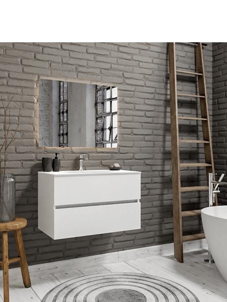 Mueble de baño suspendido Vica 80 white 2 cajones en acabado blanco mate.Mueble de baño de apertura suave por uñero con encimera para grifo sobre encimera.