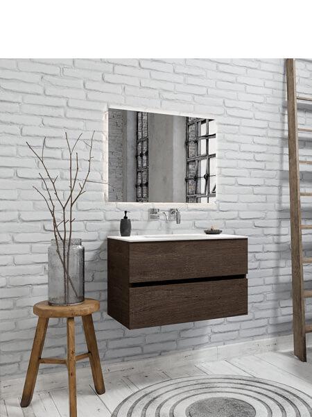 Mueble de baño 80 cm Wood nogal con 2 cajones, lavabo de Solid surface seno centrado con 0 orificio(s) para el grifo.
