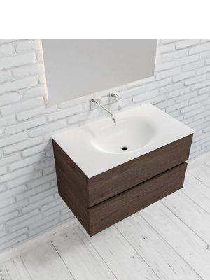 Mueble de baño suspendido Vica 80 Wood nogal 2 cajones en acabado Wood nogal mate. Un mueble de baño de apertura suave por uñero con encimera para grifo empotrado.