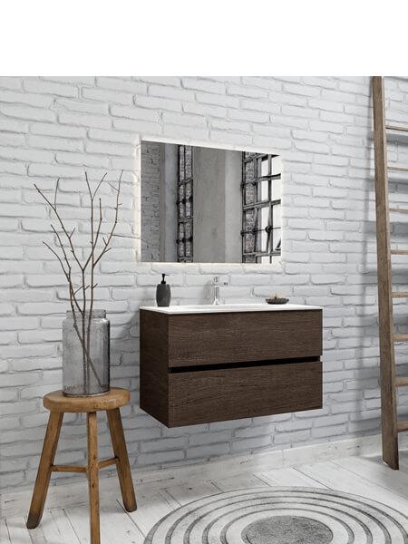 Mueble de baño 80 cm Wood nogal con 2 cajones, lavabo de Solid surface seno centrado con 1 orificio(s) para el grifo.